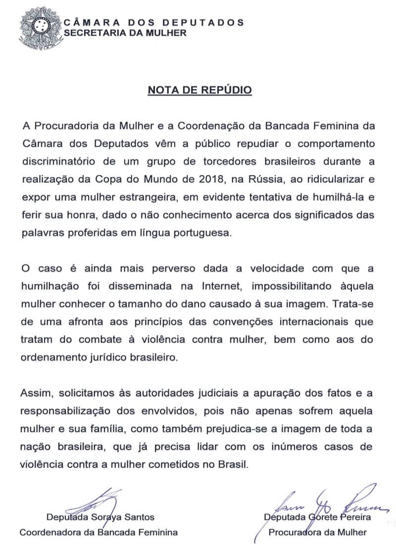 NOTA DE REPÚDIO — Portal da Câmara dos Deputados