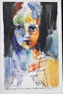 Retrato de menina ribeirinha - Aquarela - Fernando Augusto