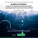 Audiência Pública - Iniciativas do governo federal e a produção audiovisual no Brasil (04/09/2019)