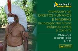 CDHM e Frente Parlamentar Mista dos Direitos dos Povos Indígenas debaterão a imunização dos indígenas contra a Covid 19