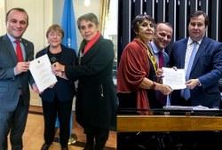 Proposta de cooperação entre a ONU e a Comissão de Direitos Humanos e Minorais é entregue por Maia a Bachelet