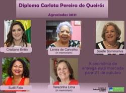Agraciadas com o Diploma Carlota Pereira de Queirós são eleitas em votação na CMULHER