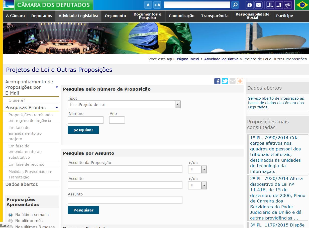 Página de Pesquisa de Proposições