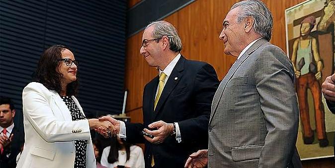 Posse da nova presidente do PCdoB, deputada Luciana Santos (PCdoB - PE). Presidente da Câmara, Eduardo Cunha, vice-presidente da República, Michel Temer