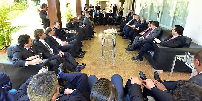 Presidente da Câmara, dep. Rodrigo Maia (DEM-RJ) participa de reunião com Governadores