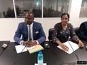 O Presidente da Assembleia Nacional, Delfim Neves, o Deputado gabonês, Yves-Fernad Manfoumbi