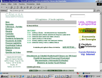 Home do Portal da Câmara de 1999